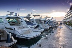 Luxury yachts moored in the marina. Luxury yachts moored in the marina in Podstrana - Croatia Royalty Free Stock Image