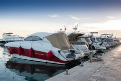 Luxury yachts moored in the marina. Luxury yachts moored in the marina in Podstrana - Croatia Stock Photo