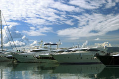 Luxury yachts moored on pier Royalty Free Stock Photography