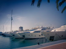 Luxury yachts. Moored in Puerto Portals, Majorca, Balearic islands, Spain Royalty Free Stock Images