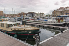 Luxury yachts moored at St Katherine Docks, London royalty free stock photography