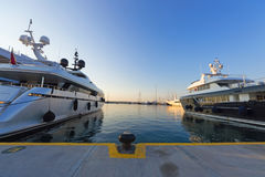 Luxury yachts in morning light Stock Photo