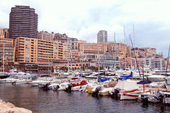 Luxury yachts in the port Hercules and cityview in Monte Carlo, Stock Photo
