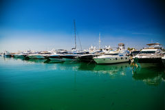 Luxury yachts in a port of Portals Nous. In Mallorca, Spain Stock Photos