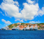 Luxury yachts in Porto Cervo coastline. Sardinia Stock Photography
