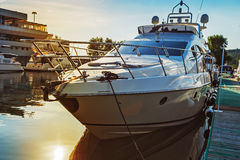 Luxury yachts in quiet haven Stock Image