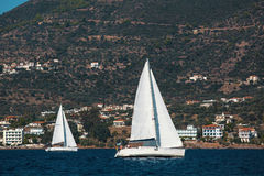 Luxury yachts at Regatta around the coast of Greece. Royalty Free Stock Image