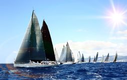 Luxury yachts at regatta. Sailing with the wind at the Sea. Outdoor Royalty Free Stock Image