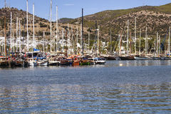 Luxury yachts and sail boats Stock Photos