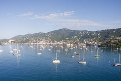 Luxury Yachts and Sailboats in Massive Blue Bay Stock Images