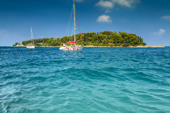 Luxury yachts at sailing on the Adriatic sea, Rovinj, Croatia Stock Photo
