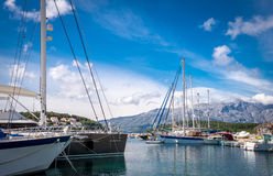 Luxury yachts and sailing boats in marina Royalty Free Stock Photography