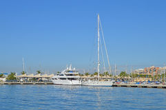Luxury Yacht - Boats In Sunny Harbour Marina Stock Image