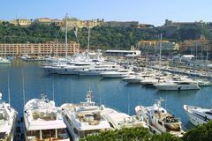 Luxury yachts in sea port of Monte-Carlo Stock Images