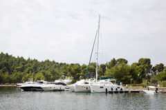 Luxury yachts in the small harbor Stock Image