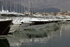 Luxury yachts in Split. Luxury yacht (line) at the marina in Split (Croatia royalty free stock image