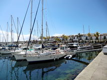 Luxury yachts at spring day in the marina Royalty Free Stock Photo