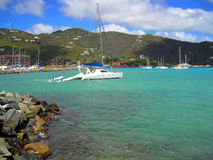 Luxury yachts in St Barts harbor Royalty Free Stock Images