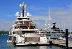 Luxury Yachts in St. Thomas Marina Stock Images