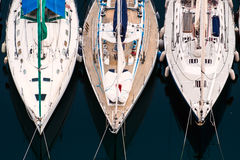 Luxury yachts to drop anchor in seaport Stock Image