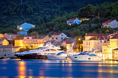 Luxury yachts in Town of Vis waterfront Royalty Free Stock Photo