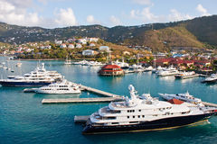 Luxury Yachts in a Tropical Marina Stock Photography
