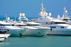 Luxury yachts. View of a luxury yachts bows at a marina Stock Photo