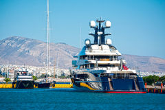 Luxury yachts. View of a luxury yachts at a marina in Greece Stock Image