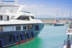 Luxury yachts viewed from the side New Marina in Pisa - Tuscany Royalty Free Stock Photos