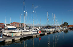 Luxury Yachts in Weymouth Harbour in Dorset Stock Images