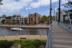 Luxury yatch boat in harbour near walk bridge Stock Photo