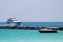 Luxury yatch and recreational boat Stock Photos