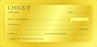 Luxury yellow gold cheque template with vintage guilloche. Check with abstract watermark, border. Gold background for banknote, royalty free stock image