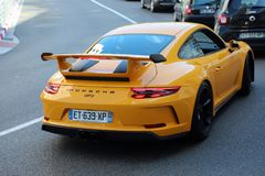 Luxury Yellow Porsche 911 GT3 Rear View. Monte-Carlo, Monaco - April 21, 2018: Luxury Yellow Porsche 911 GT3 Rear View In The Street Of Monaco On The French Royalty Free Stock Image