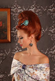 Luxury young beautiful woman in vintage victorian dress Royalty Free Stock Photos