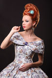 Luxury young beautiful woman in vintage victorian dress Stock Image