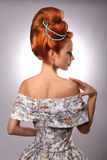 Luxury young beautiful woman in vintage victorian dress Stock Images