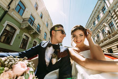Luxury young couple on the street Royalty Free Stock Image