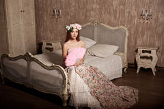 Luxury young smiling beauty woman in vintage dress in elegant in Royalty Free Stock Image