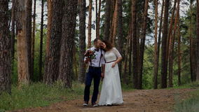 Luxury young woman and stylish man walking in a summer forest. Communicate with each other and smiling. stock video