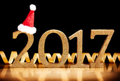 Luxus- Datum des Gold-2017 neuen Jahres Lizenzfreies Stockbild