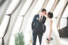 Luxus heiratete die Hochzeitspaare, -braut und -br?utigam, die in der alten Stadt aufwerfen stockbilder