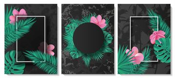 Luxus kardiert Sammlung mit Marmorbeschaffenheit, tropischen Blättern, Blumen und Rahmen Modischer Hintergrund des Vektors Modern lizenzfreie abbildung