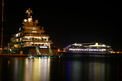 Luxus ship. In habor with lights Stock Photography