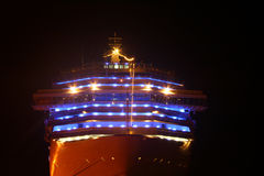 Luxus ship. In habor with lights Stock Images