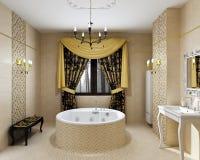 Luxusbadezimmerinnenraum im Tageslicht vektor abbildung