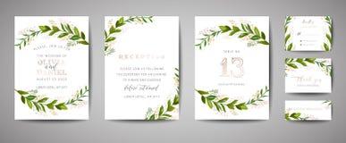 Luxusblumen-Weinlese-Hochzeit sparen das Datum, Einladungs-Blumenkarten-Sammlung mit Goldfolien-Rahmen Modische Abdeckung des Vek stock abbildung