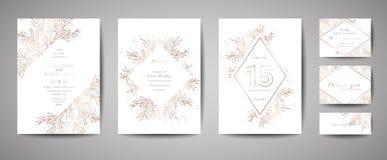 Luxusblumen-Weinlese-Hochzeit sparen das Datum, Einladungs-Blumenkarten-Sammlung mit Goldfolien-Rahmen modische Abdeckung, grafis stock abbildung