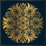 Luxusblumenmandalakunst dekorativ Weinlesegoldmandalakunst mit Kreisblumenmotiven stock abbildung