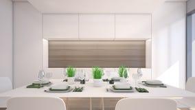 Luxusesszimmer mit Wiedergabe Grünpflanze/3D Stockbilder